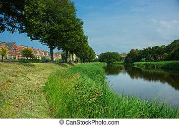 Picturesque scene, river meandering - Picturesque summer...