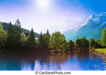 Picturesque scenery lake in Chamonix, France