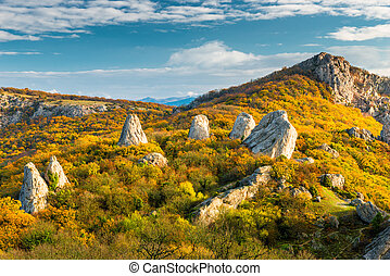 Picturesque scenery Temple of the Sun - rocks surrounded by forest in the mountains of Crimea, Russia