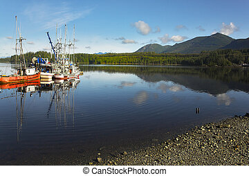 Picturesque seaport in settlement Tofino