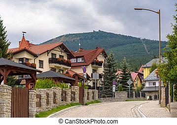 Picturesque street in Szklarska Poreba town