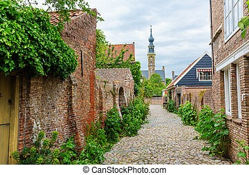street view in the historic small town of Veere, Netherlands