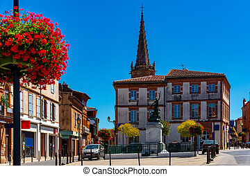 Picturesque streets of the old city Muret on sunny summer day