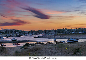 Picturesque summer evening view of Bembridge Harbour