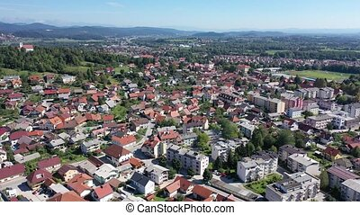 Picturesque top view of city Vrhnika. Republic of Slovenia. ...