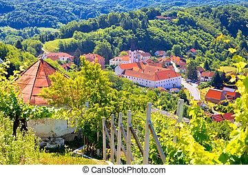 Picturesque town of Klanjec aerial view