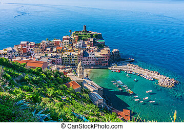 Picturesque town of Vernazza, Liguria, Italy