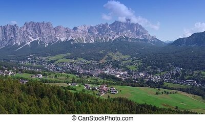 Picturesque view of Cortina dAmpezzo in the Dolomites, Italy.