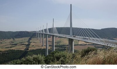 Summer view of Millau Viaduct, multi-span cable-stayed bridge in France