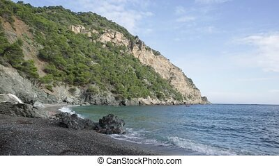 Scenic view of Marine Reserve of Ses Negres in Begur in middle of Costa Brava on sunny fall day, Catalonia, Spain