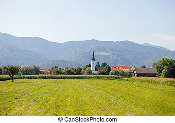 Picturesque view of small village in Slovenia
