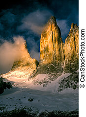 Torres del Paine - Picturesque view of Torres del Paine in...