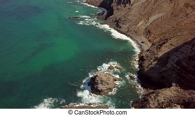 Picturesque view of tropical shore - Aerial shot from drone...