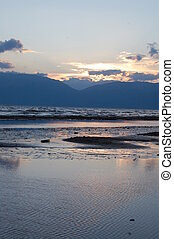 sunset over lake prespa, macedonia - picure of a sunset over...