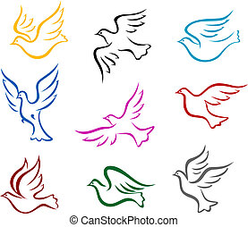 Pigeons and doves symbol set for peace or wedding concept design
