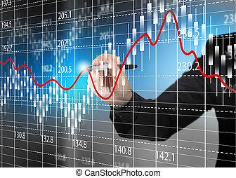 pień, analiza, handlowy, wykres, zamiana, diagram.