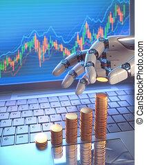 pień handlarski, robot, targ, system