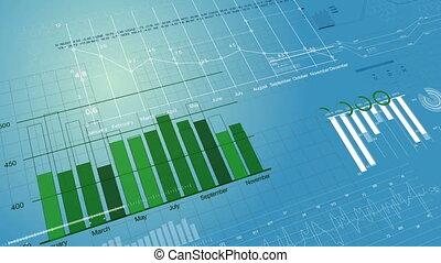pień robią zakupy, finansowe figury, i, wykresy, rozwój, na, cyfrowy, błękitny, screen., hd, 1080., looped, 3d, animation.
