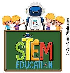 pień, robot, wykształcenie, inżynier, dzieciaki, chodząc, logo