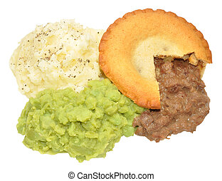 Pie And Mash - Meat pie and mashed potato meal with mushy...
