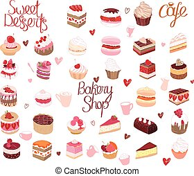 pie., anders, set, soorten, muffin, restaurant, dessert., menu., ontwerp, macaroon, aankondigingen, taart, jouw, affiches, postkaarten