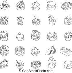 pie., anders, set, soorten, muffin, restaurant, omtrek, menu., schets, ontwerp, macaroon, aankondigingen, taart, dessert:, monochrome., jouw, affiches, postkaarten