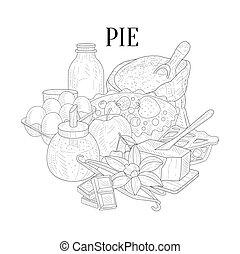 Pie Baking Ingredients Hand Drawn Realistic Sketch