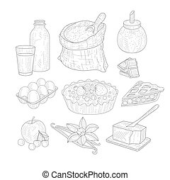 Pie Baking Ingredients Isolated Hand Drawn Realistic Sketches