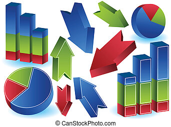 Pie Bar Arrow Charts : 3D objects. - set of business...