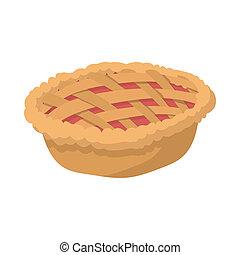 Pie cartoon icon on the white background