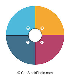 Pie Chart 4 Position - Colourful In The Form Of Flower...