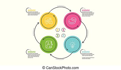 Pie chart, Accounting and Algorithm icons set. Idea sign. 3d graph, Supply and demand, Project. Light bulb. Vector
