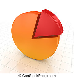 Pie chart , computer generated image. 3d render.