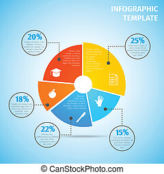 Colored abstract flat pie chart education infographic element with sector labels vector illustration