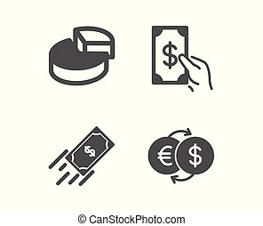 Pie chart, Fast payment and Receive money icons. Money exchange sign. 3d graph, Finance transfer, Cash payment. Vector