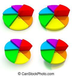 Pie Chart - Four Colourful Views