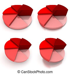 Pie Chart - Four Red Views - coloured pie chart - six shades...