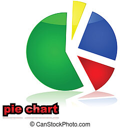 Pie chart graph - Glossy illustration of a colorful pie...