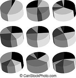 Pie Chart Icon Set Vector Illustration