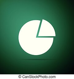 Pie chart infographic icon isolated on green background. Diagram chart sign. Flat design. Vector Illustration