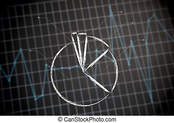 Pie chart on financial (or stats) graph background