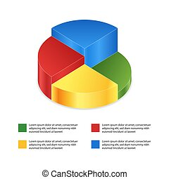 Pie chart on isolated background. Isometric pie charts different