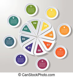 Pie chart or area chart diagram infographics eight position