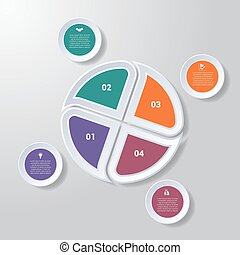 Pie chart or area chart diagram infographics four position