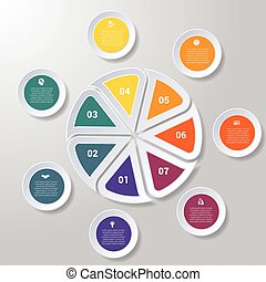 Pie chart or area chart diagram infographics seven position