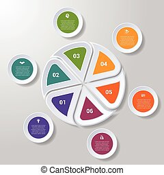 Pie chart or area chart diagram infographics six position