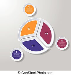 Pie chart or area chart diagram infographics three position