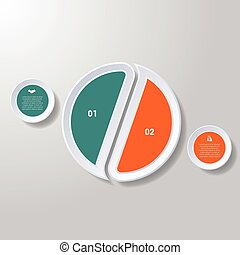 Pie chart or area chart diagram infographics two position