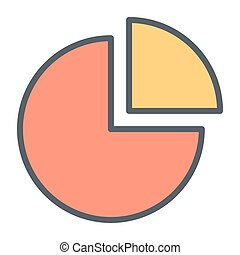 Pie Chart Pixel Perfect Vector Thin Line Icon 48x48. Simple Minimal Pictogram