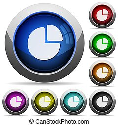 Pie chart round glossy buttons